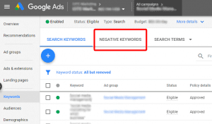 This image shows you where you can find your negative keywords in Google Ads.