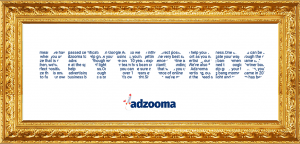 The word keywords with the Adzooma about us filling in each letter.