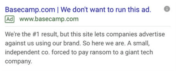 Basecamp's infamous Google ad