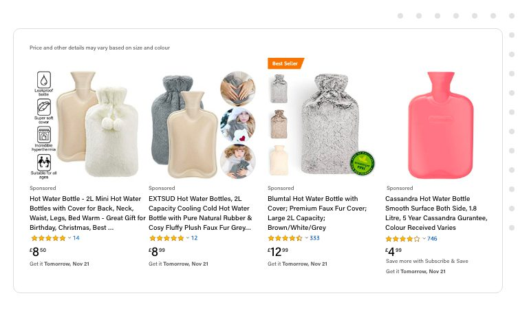 Hot water bottles listing