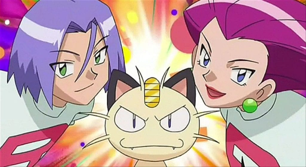 Jessie, James, and Meowth, the most famous members of Team Rocket