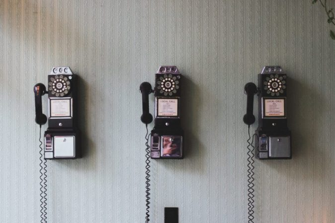 Phones on a wall