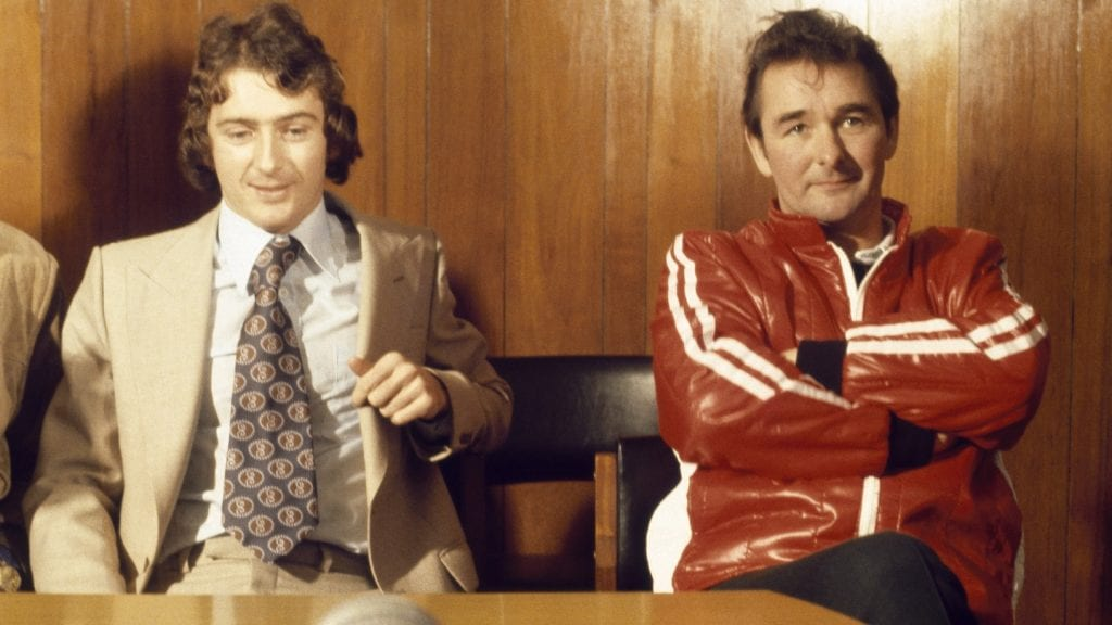 Trevor Francis with Brian Clough in 1979 after becoming the first million-pound player. Photo: Getty Images