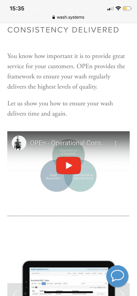 Wash Systems landing page