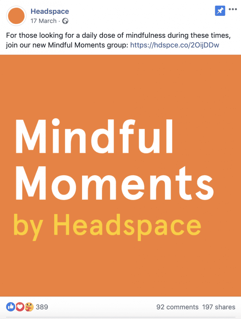 Headspace Facebook post
