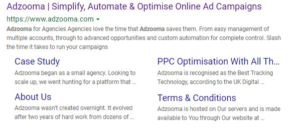 """Bing Search Result for query """"adzooma"""""""